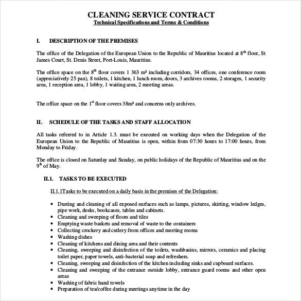 janitorial service contract template - cleaning contract template 17 word pdf documents