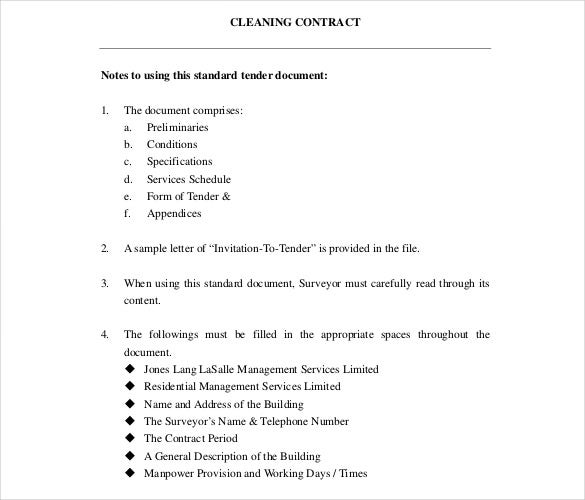 standard tender document for cleaning contract free pdf