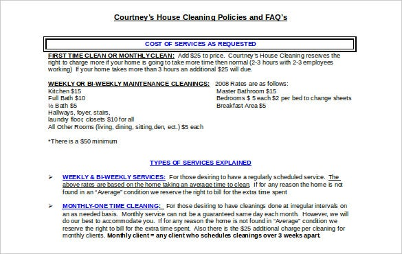types of cleaning service contract template free doc format