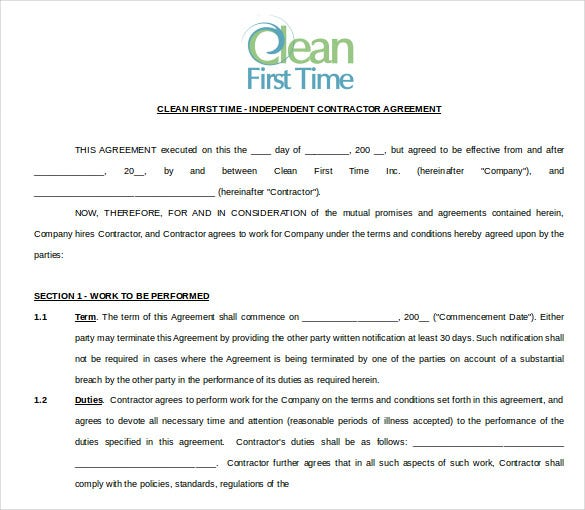 Cleaning Contract Template   Word Pdf Documents Download  Free