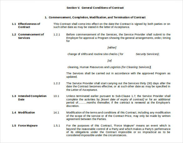 general conditions of cleaning contract free doc template