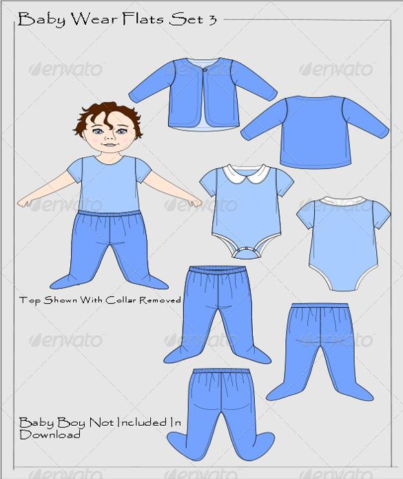 onesie baby wear flat vectors