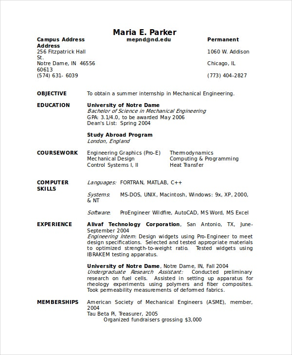 undergraduate cv template word science resume examples computer