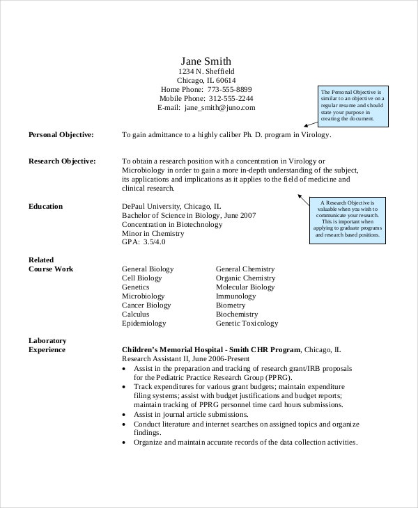 biology research assistant resume template