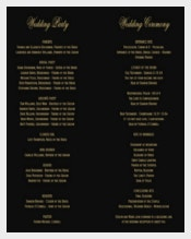 Black Background Wedding Program Template