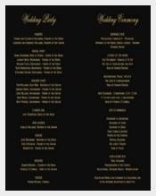 Black Background Wedding Program Template