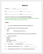 Easy To Follow Wedding List Template
