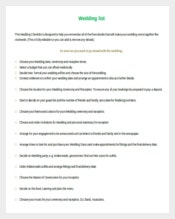 Wedding list Template For Free