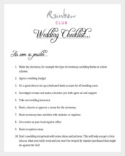 Wedding List Template PDF Format