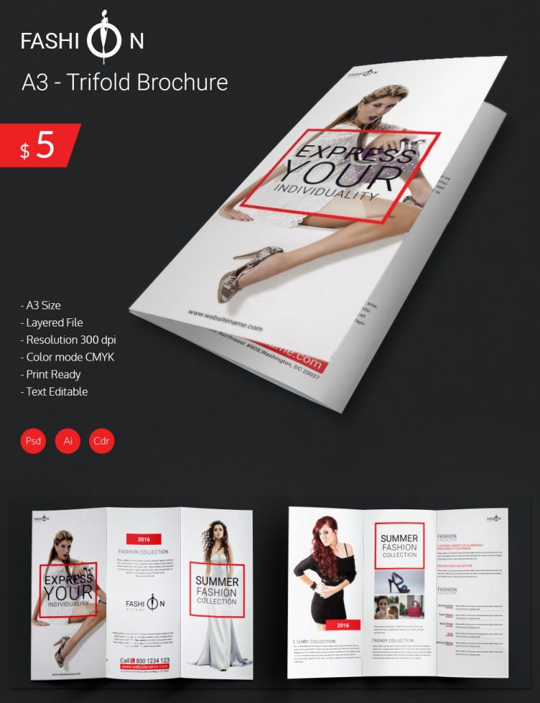Elegant Fashion A3 Tri Fold Brochure Template – Fashion Design Brochure Template