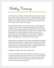 Easy To Print Wedding Cermony Template