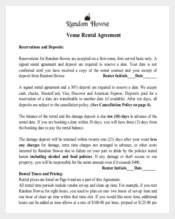 Wedding Venue Contract Template