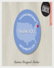 Thankyou Wedding Sticker Template