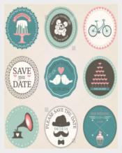 Vintage Wedding Sticker Template