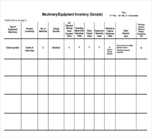 Equipment Inventory Template - 10 Free Word, Excel, Pdf Documents