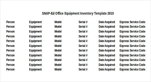 Equipment Inventory Template 10 Free Word Excel PDF Documents – Office Inventory List