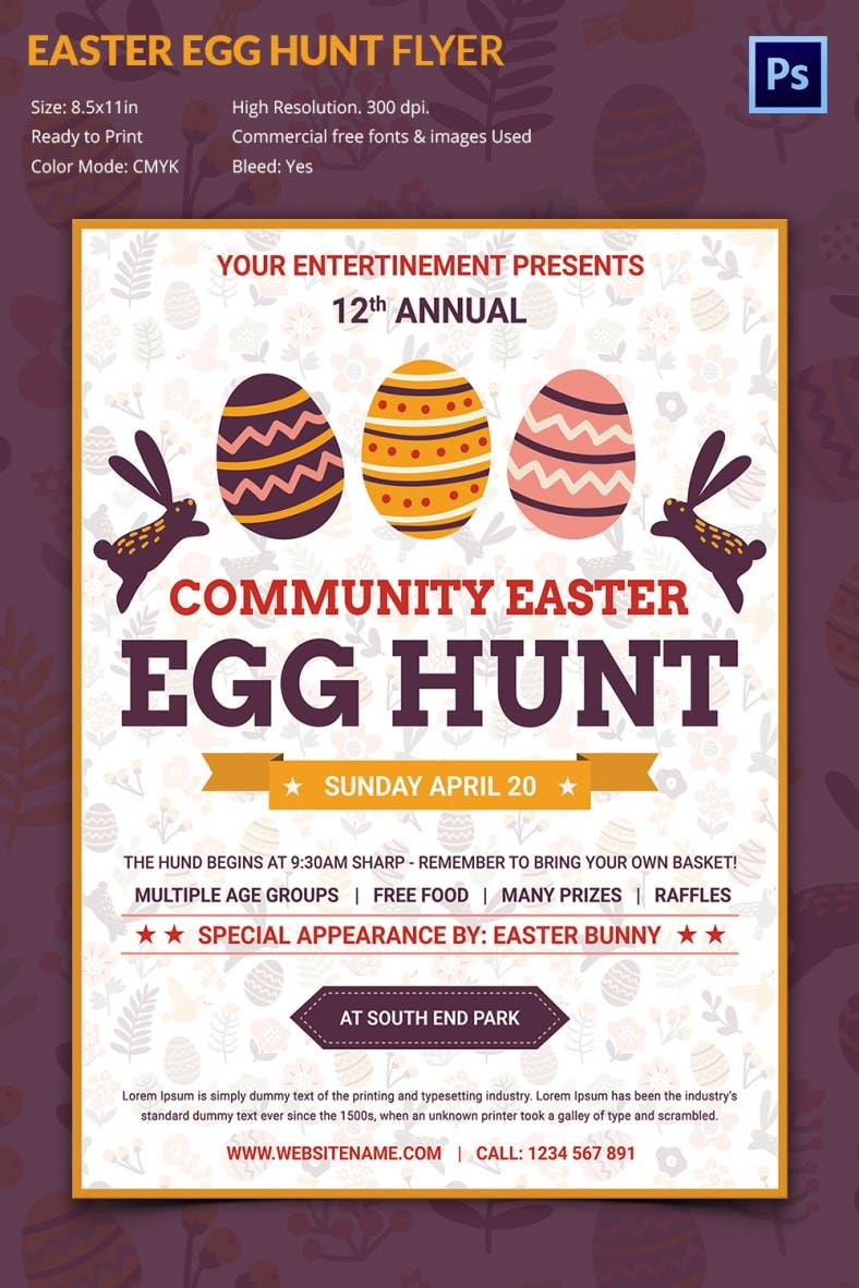 excellent easter egg hunt flyer template premium templates if you are planning an easter egg hunt party on the easter sunday this flyer is apt to sp the word of your grand celebration on a merry note