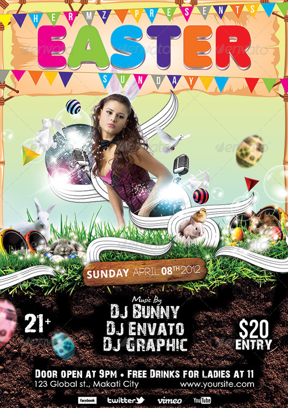 psd format easter sunday poster template