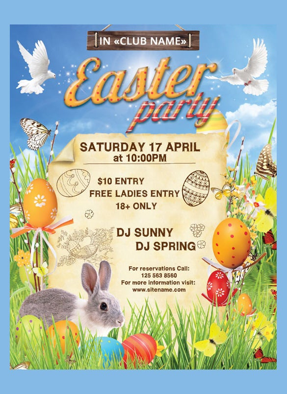 easter party poster psd format template download