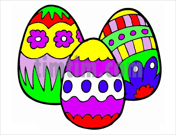 illustration drawing of three colorfully decorated easter eggs