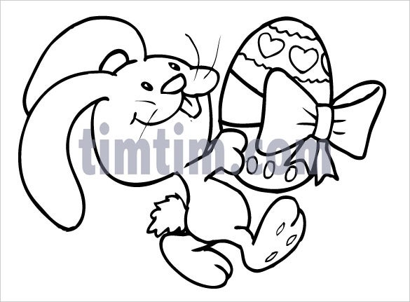 drawing of a smiling easter bunny rabbit printable