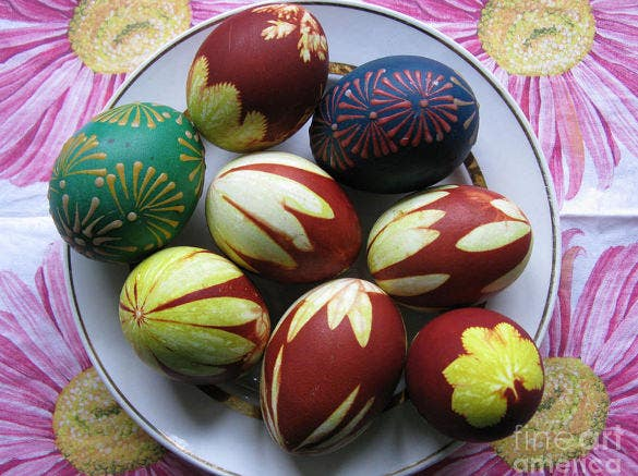 easter eggs plant print and wax drawing download