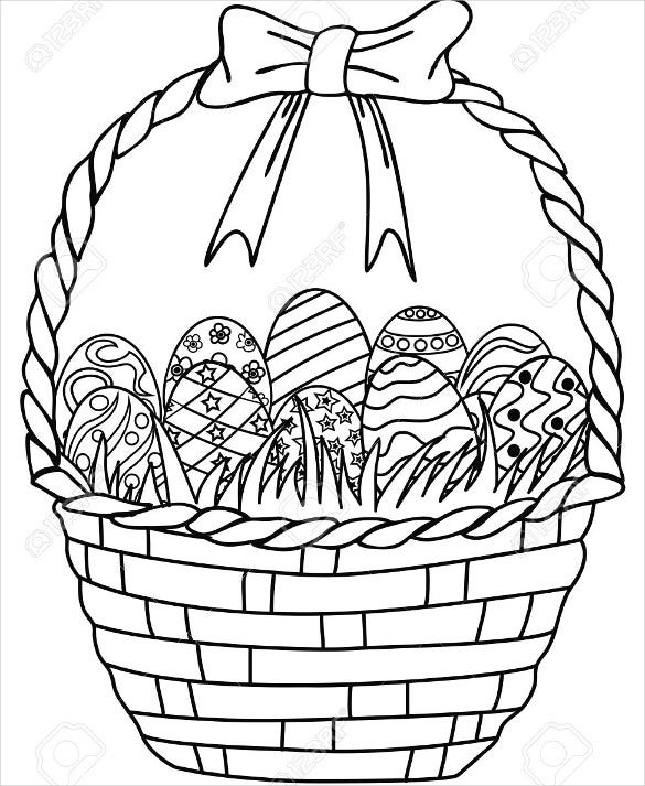 isolated hand drawn basket of easter eggs outline