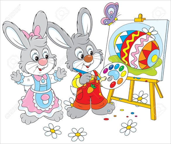 little rabbits drawing a colorful easter free download
