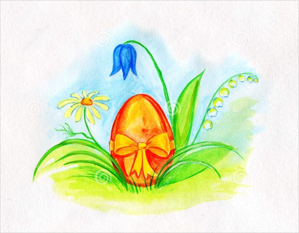 download watercolor drawing decorated easter egg spring flowers