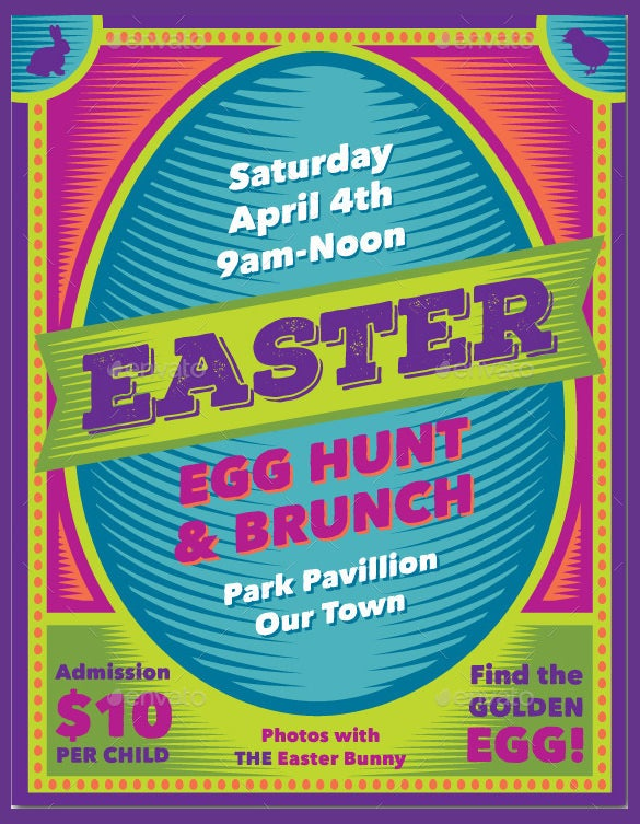 easter egg hunt and brunch poster photoshop format download