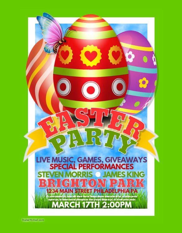 sample easter party poster template