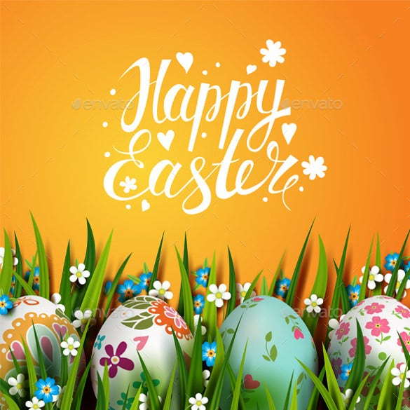 bright easter card with eggs template