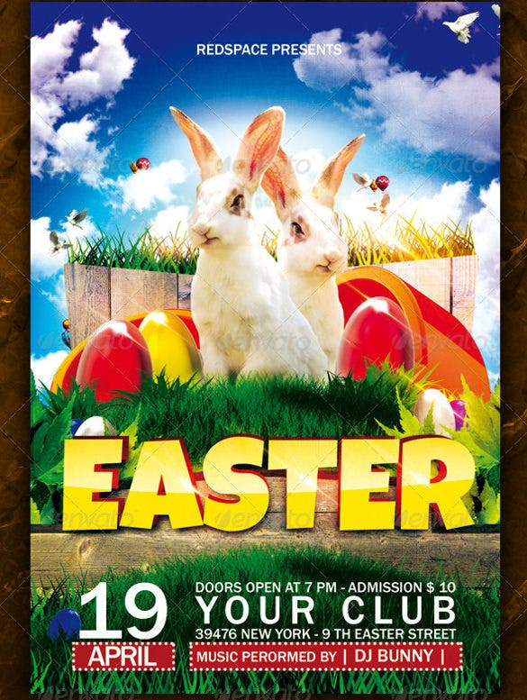 easter flyer template with rabits