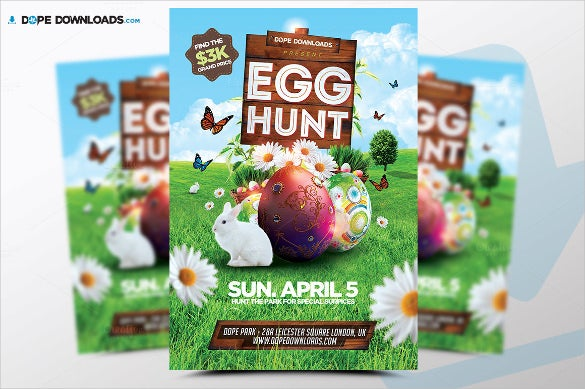 colorful easter egg hunt flyer template