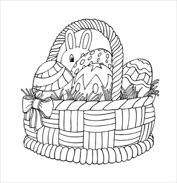 easter basket colouring page pdf free download