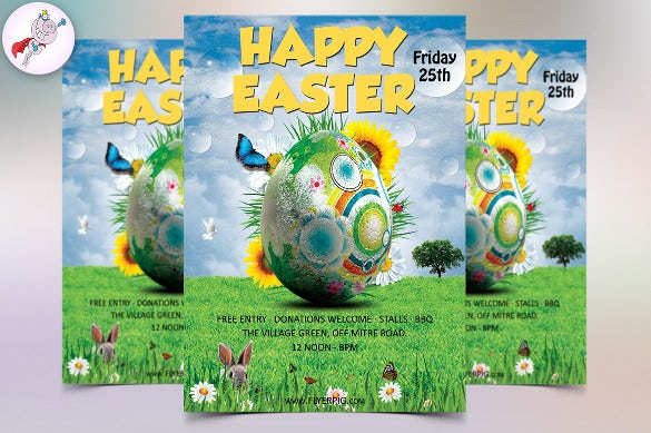 happy easter flyer template download