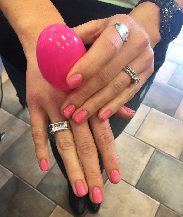 easter pink nail design with egg