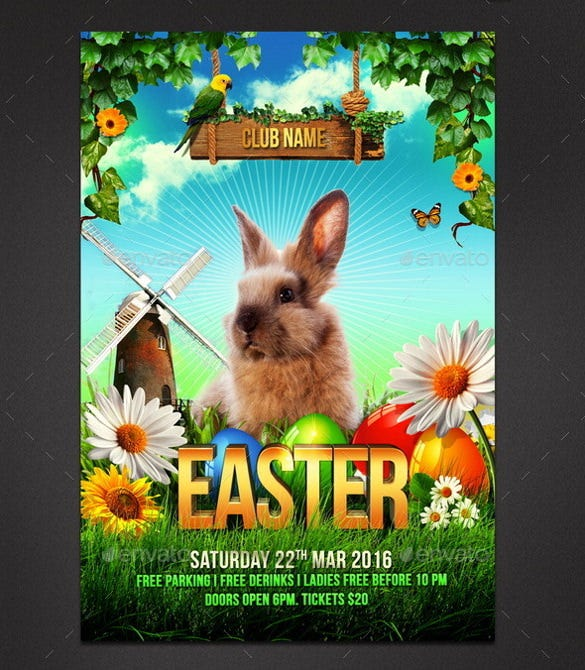 easter flyer with nature theme