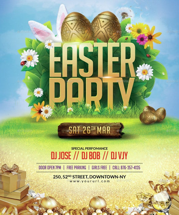 happy easter flyer template easy download