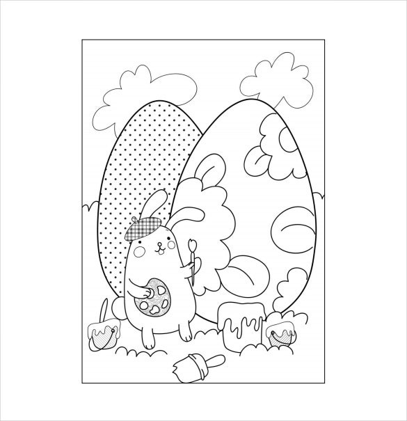 easter bunny painting egg colouring page example free download