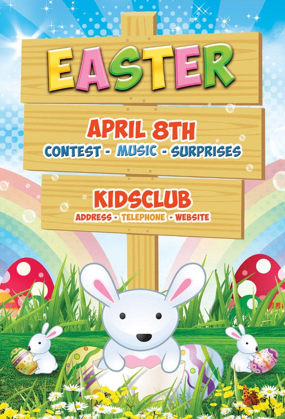 kids club easter flyer template