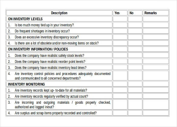 Inventory Checklist Template   Free Word Pdf Documents