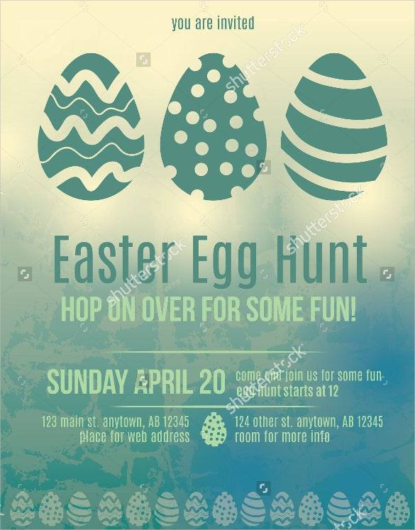 beautiful easter egg hunt invitation flyer template