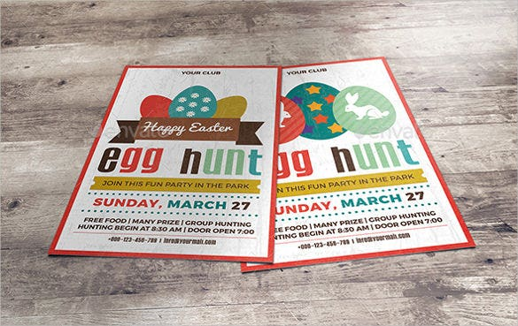 easter egg hunt party flyer invitation template