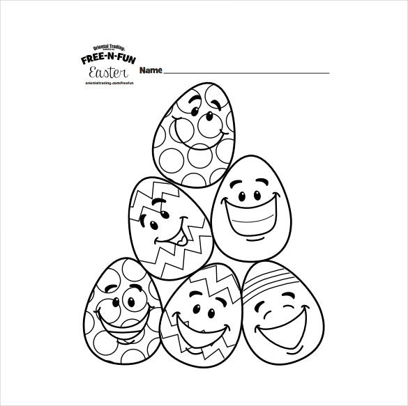 Easter Egg Character Colouring Page PDF Format Free Download