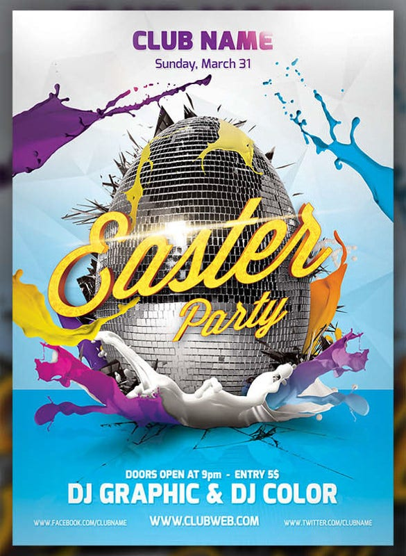 dj coloured easter flyer template