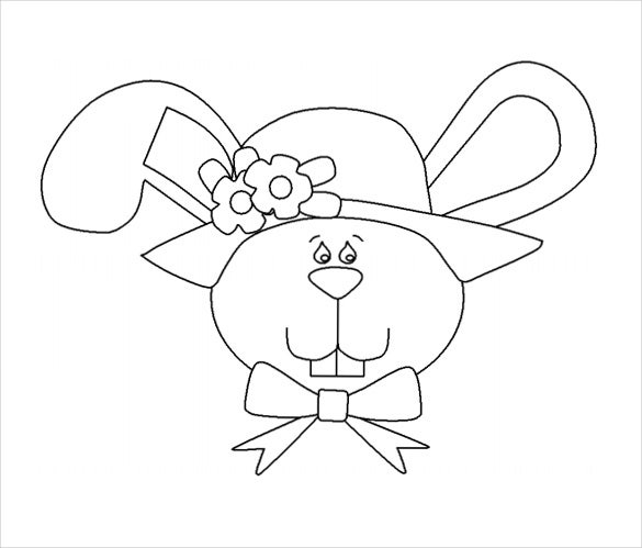 easter bunny face sample colouring page free download