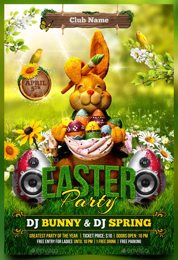 spring easter flyer template