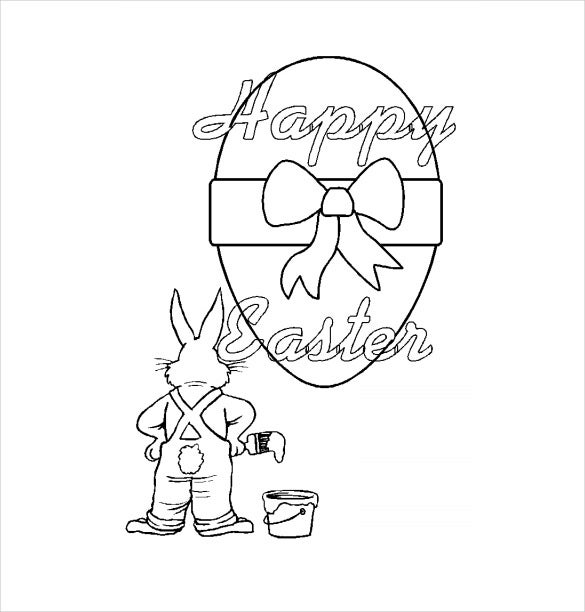 easter bunny artist colouring page example free download