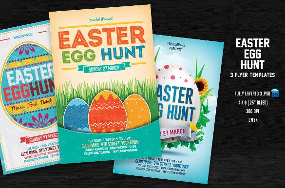 3 easter egg hunt flyer template